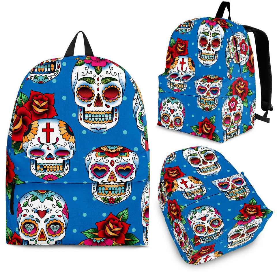 Suger Skull Rose Pattern Backpack