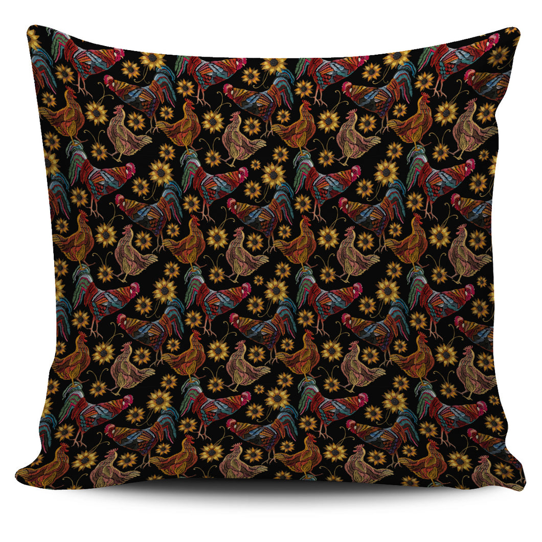 Rooster Chicken Flower Pattern Pillow Cover