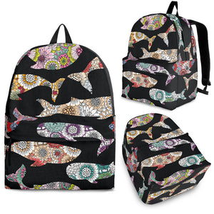 Whale Flower Tribal Pattern Backpack