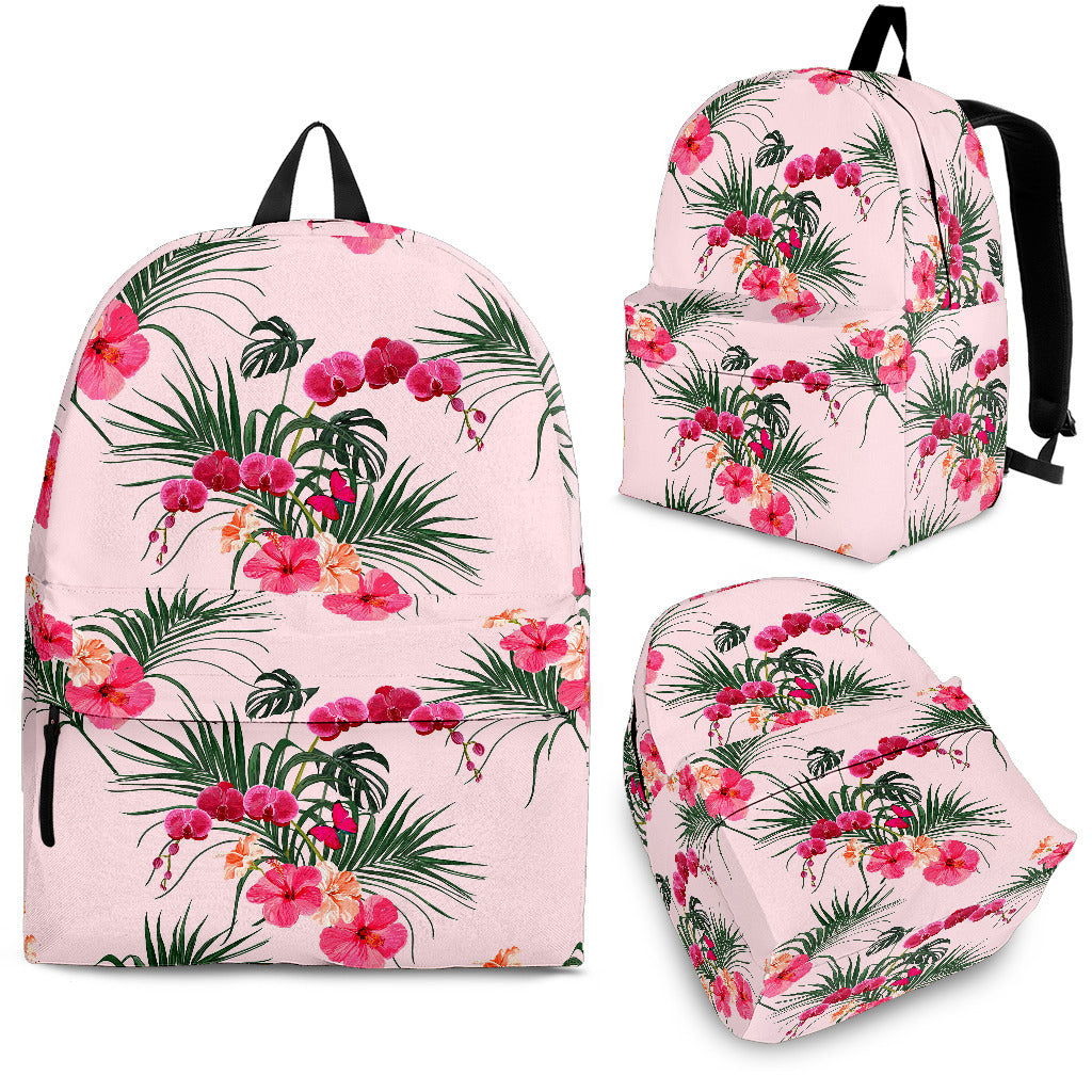 Red Pink Orchid Hibiscus Pattern Backpack