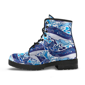 Whale Starfish Pattern Leather Boots