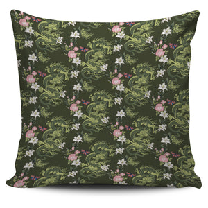 Green Dragon Rose Flower Pattern Pillow Cover