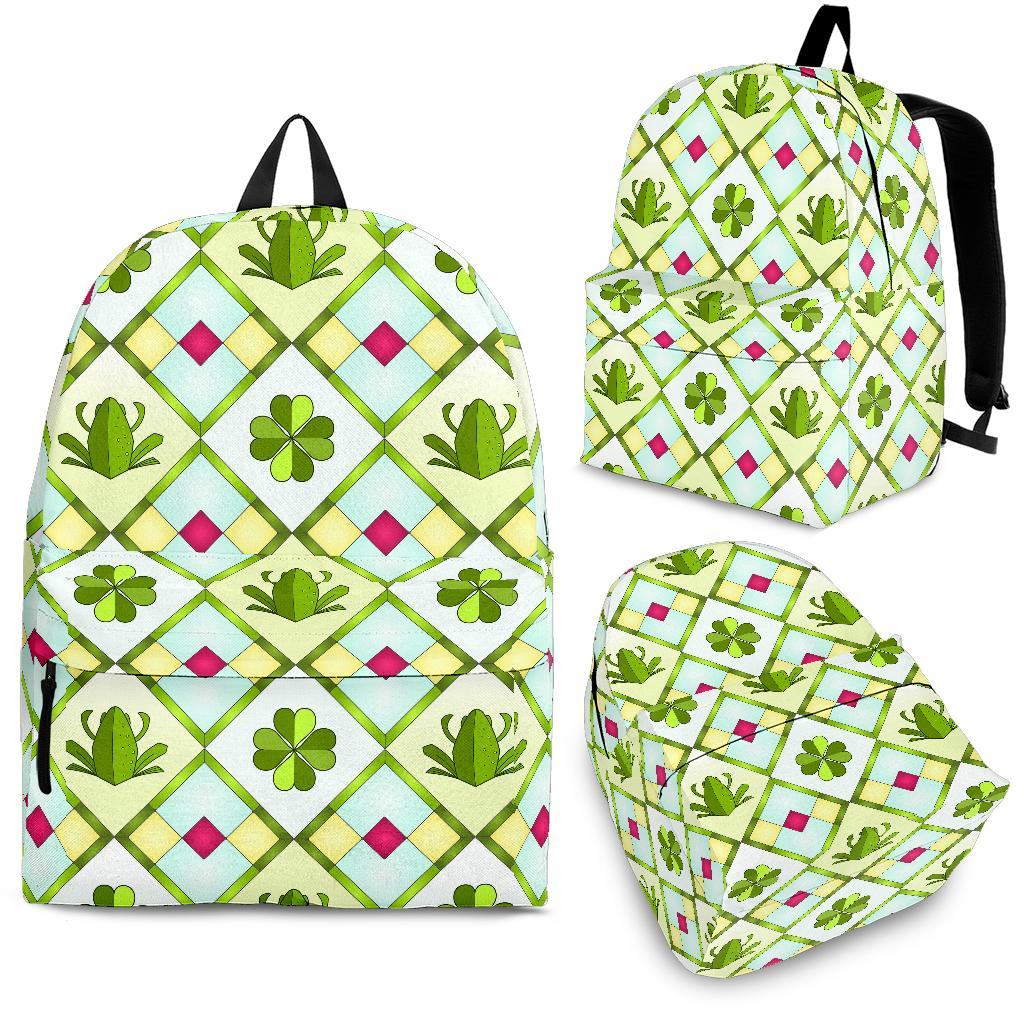 Frog Clover leaves Pattern Backpack
