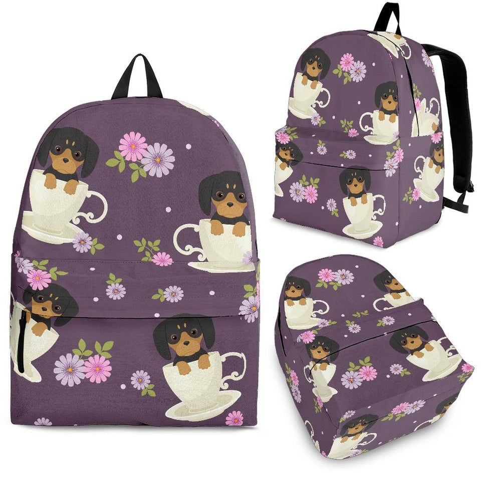 Dachshund in Coffee Cup Flower Pattern Backpack