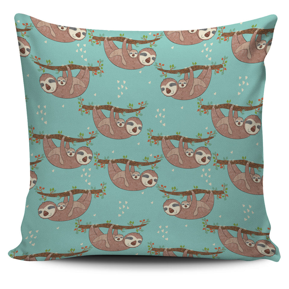 Sloth Mom and baby Pattern Pillow Cover