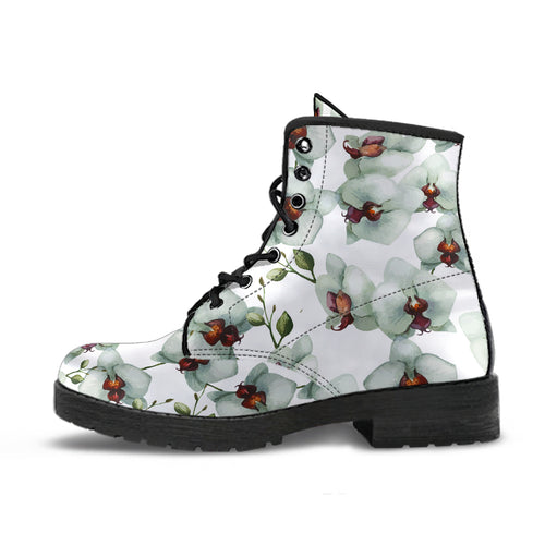 White Orchid Pattern Leather Boots