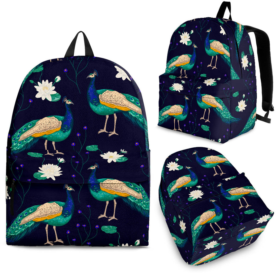 Peacock Flower Pattern Backpack