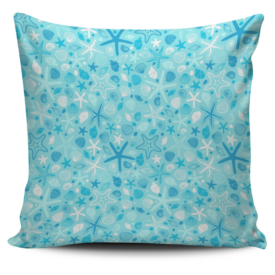 Starfish Shell Blue Theme Pattern Pillow Cover