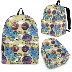 Hot Air Balloon Water Color Pattern Backpack