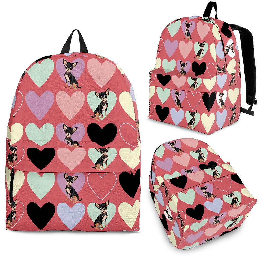 Chihuahua Heart Pink Pattern Backpack