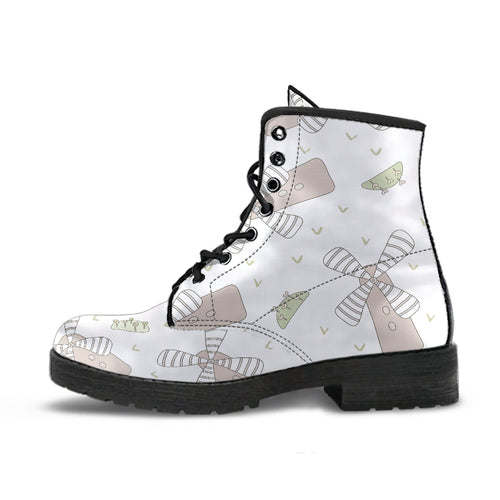 Windmill Pattern Background Leather Boots