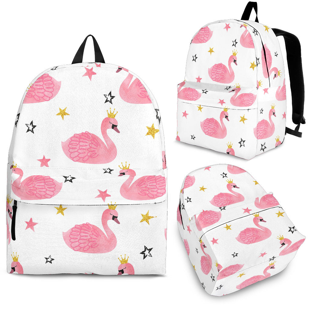 Pink Swan Pattern Backpack