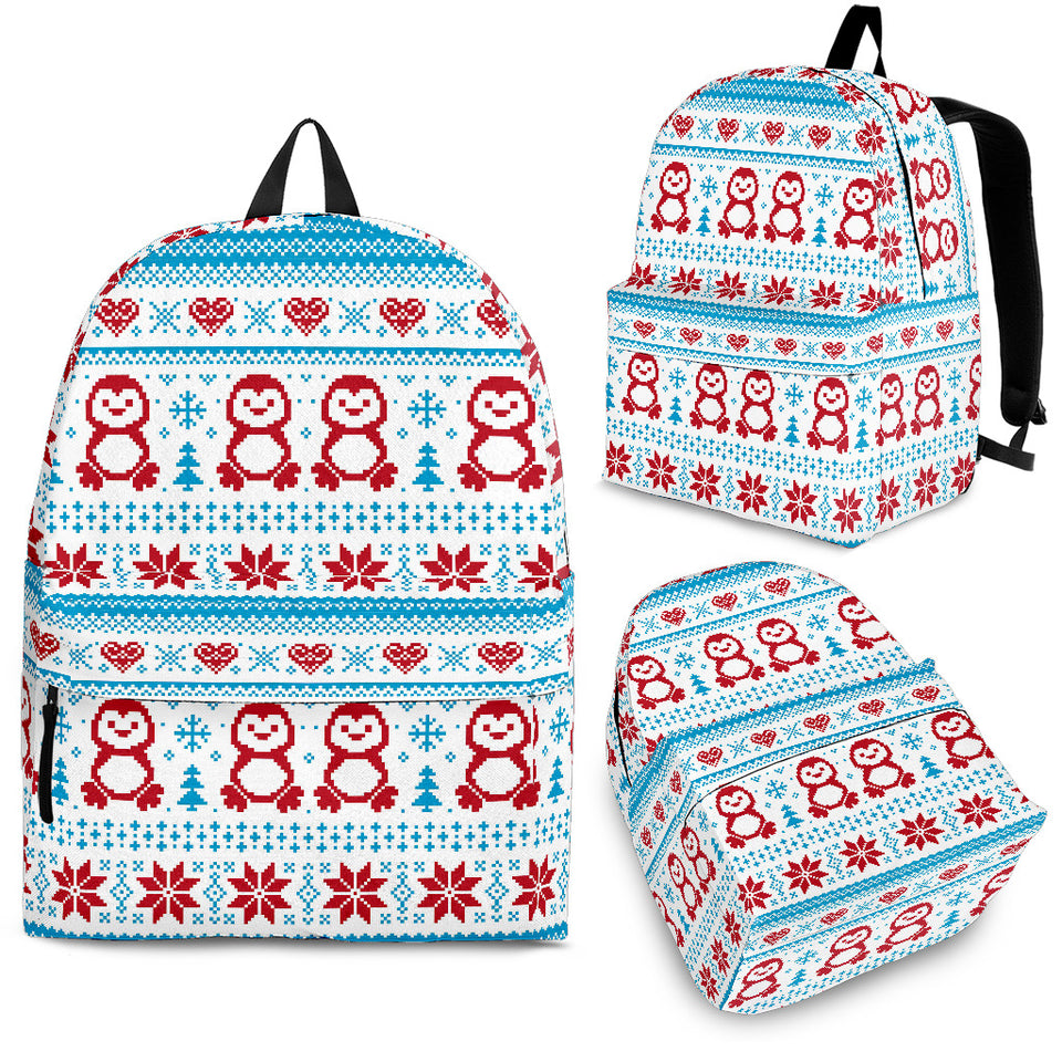 Penguin Sweater Printed Pattern Backpack