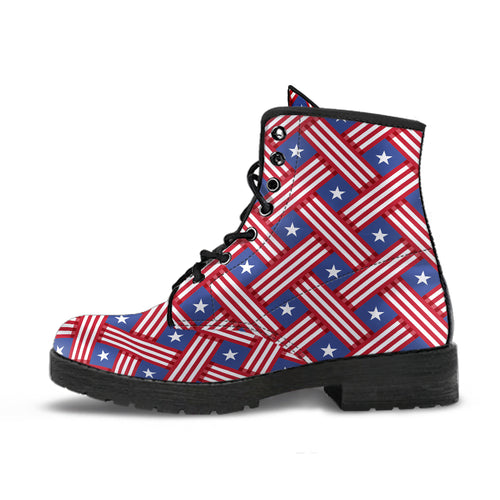 USA Star Stripe Pattern Leather Boots