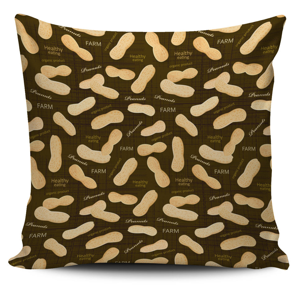 Peanut Pattern Green Background Pillow Cover