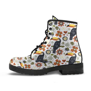 Toucan Flower Pattern Leather Boots