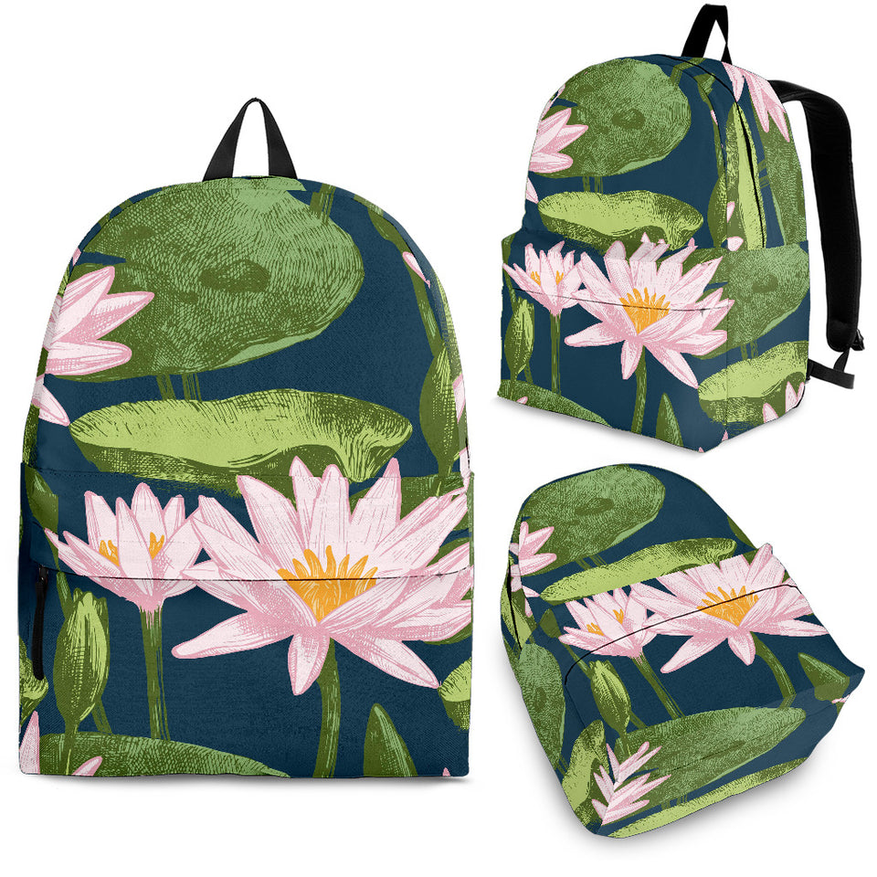 Lotus Waterlily Pattern background Backpack
