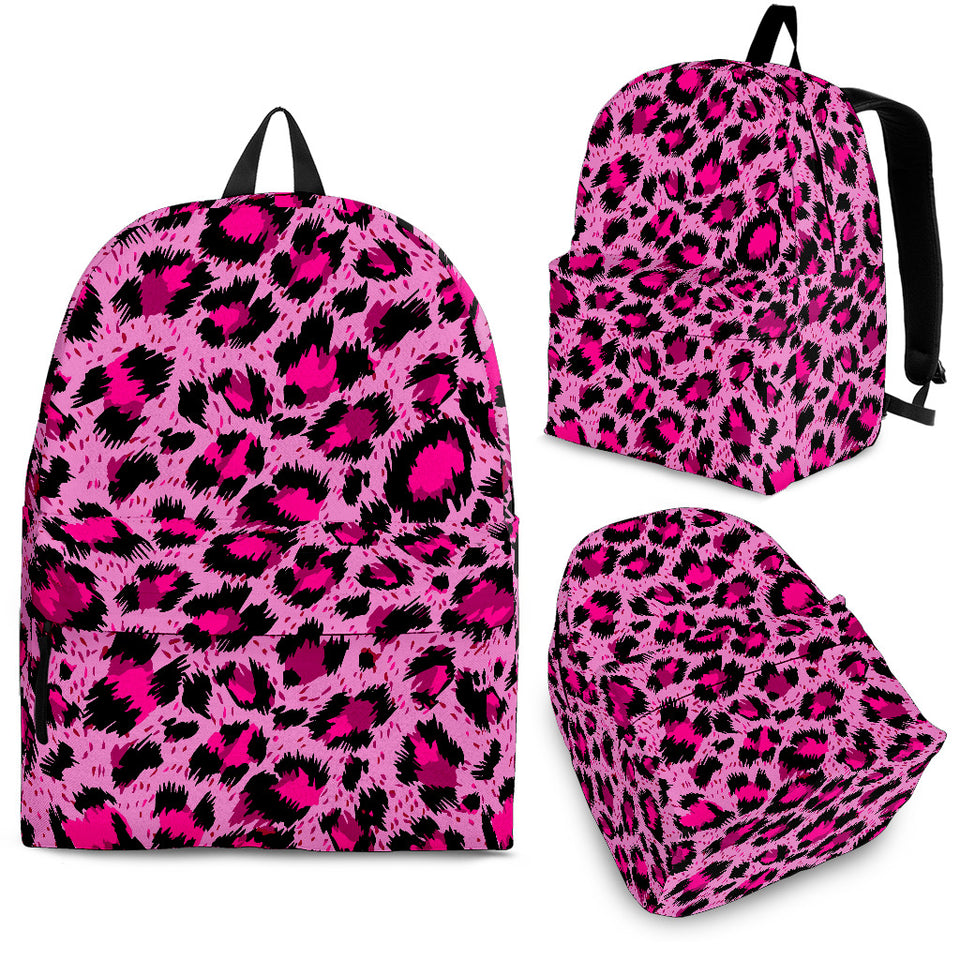 Pink Leopard Skin texture Pattern Backpack
