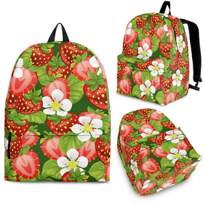 Strawberry Leaves Flower Pattern Backpack