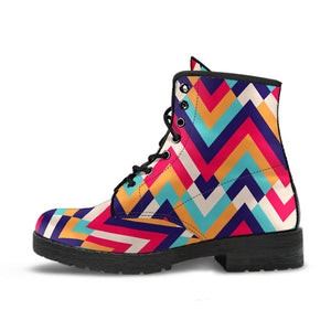 Zigzag Chevron Pattern Background Leather Boots
