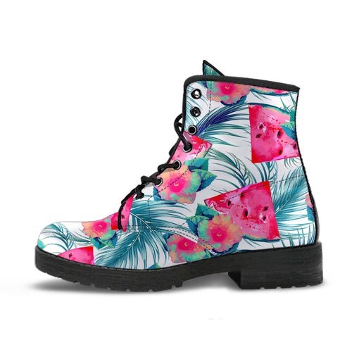 Watermelon Flower Pattern Leather Boots