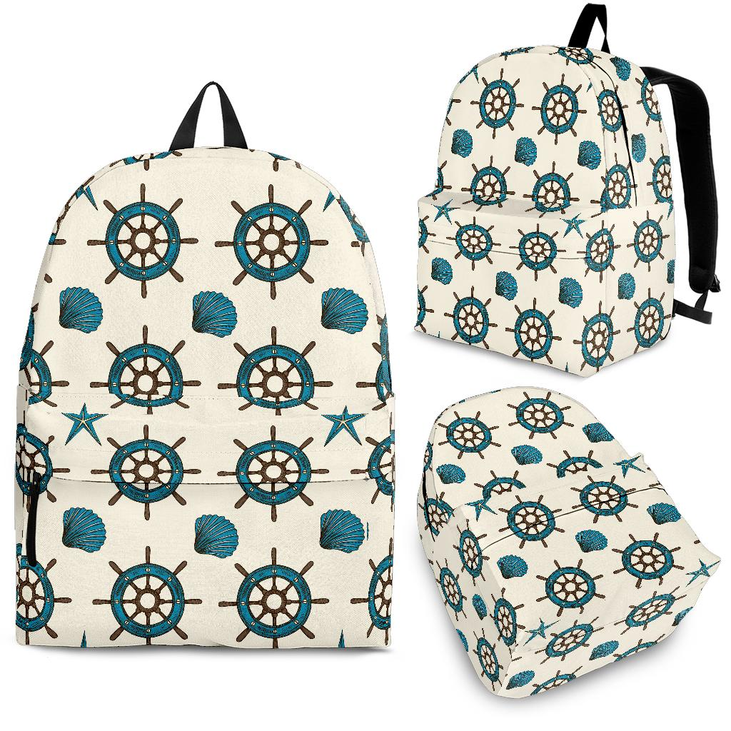 Nautical Steering Wheel Rudder Shell Pattern Backpack