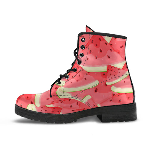 Watermelon Pattern Background Leather Boots