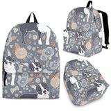 Boston Terrier Flower Pattern Gray Background Backpack