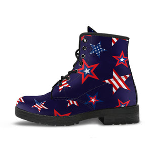 USA Star Pattern Theme Leather Boots