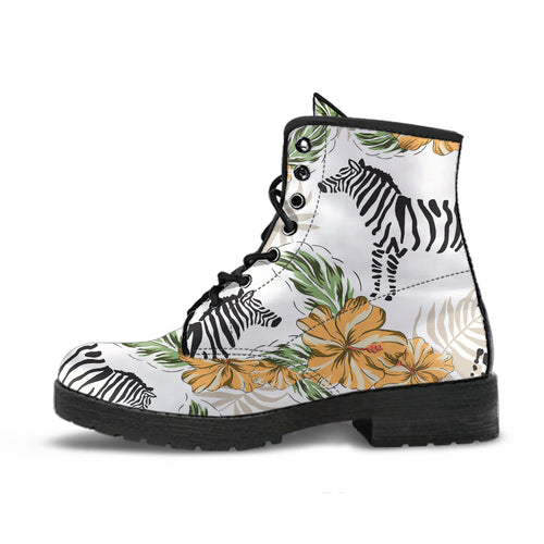 Zebra Hibiscus Pattern Leather Boots
