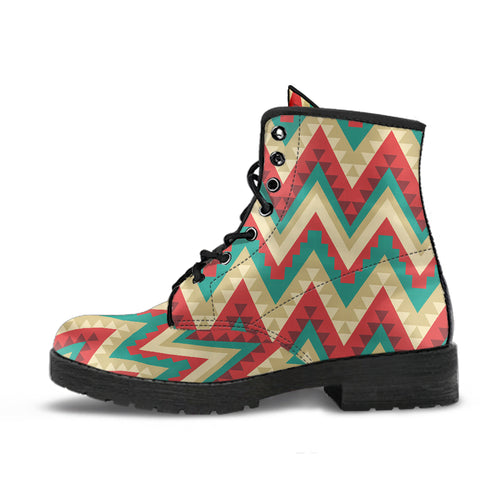 Zigzag Chevron Pattern Leather Boots