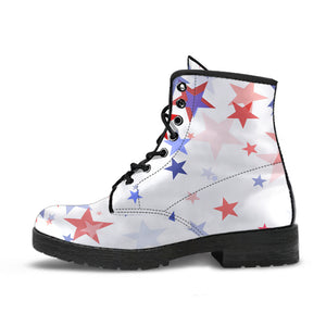 USA Star Pattern Leather Boots