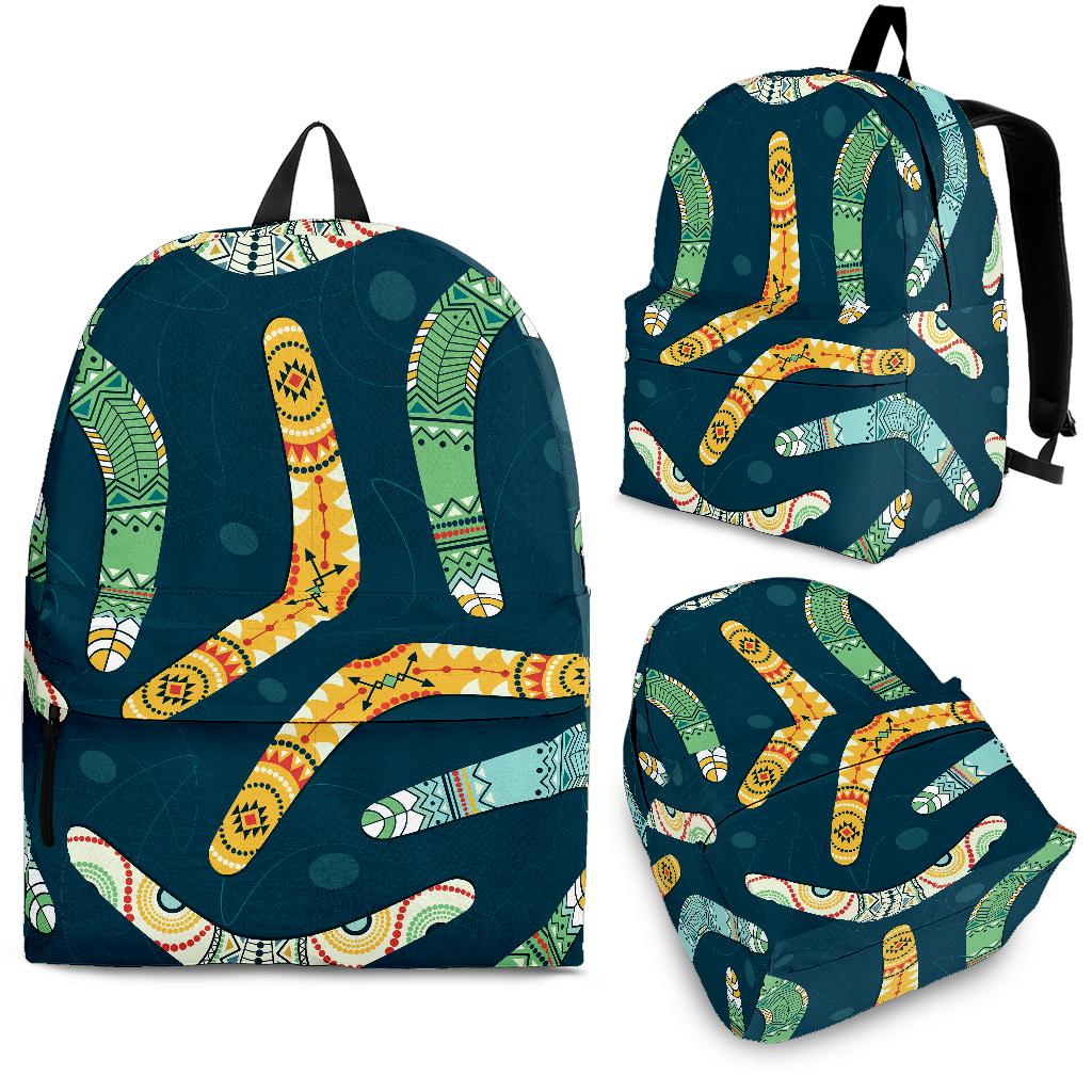Boomerang Aboriginal Pattern Dark Background Backpack