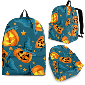 Halloween Pumpkin Witch Hat Pattern Backpack