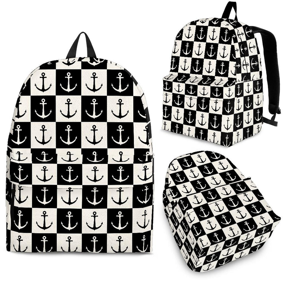 Anchor Black and White Patter Backpack