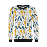 Bowling Ball and Shoes Pattern Women's Crew Neck Sweatshirt