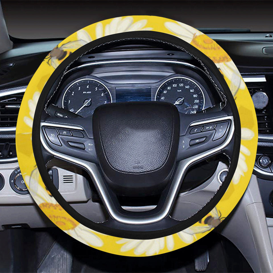 Bee Daisy Pattern Car Steering Wheel Cover
