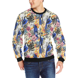 Toucan Leaves Flower Pattern Men's Crew Neck Sweatshirt