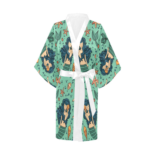 Mermaid Pattern Green Background Women's Short Kimono Robe