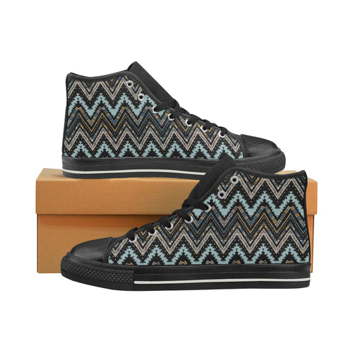 Zigzag Chevron African Afro Dashiki Adinkra Kente Men's High Top Shoes Black (Made In USA)