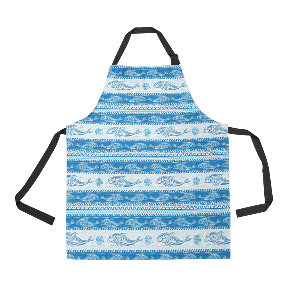Dolphin Tribal Pattern background Adjustable Apron