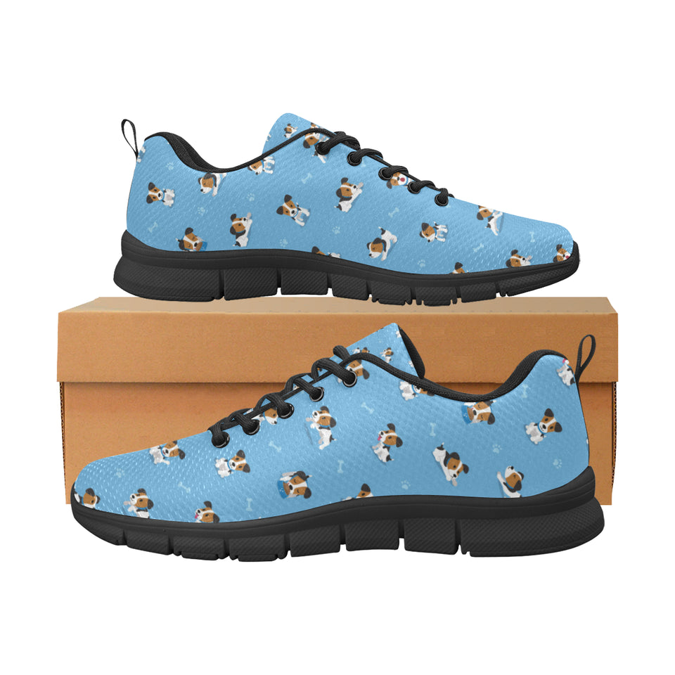 Jack Russel Pattern Print Design 04 Women's Sneakers Black