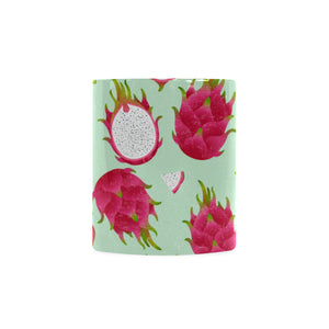 Dragon Fruit Pattern Green Background Classical White Mug (FulFilled In US)