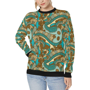 Coffee Bean Pattern Graphic Ornate Women's Crew Neck Sweatshirt