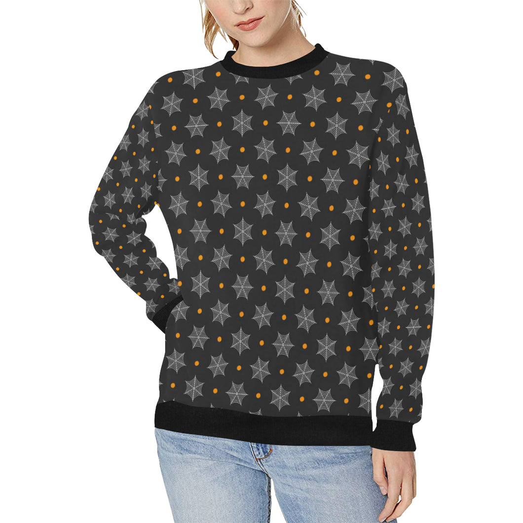 Cobweb Spider Web Pokka Dot Pattern Women's Crew Neck Sweatshirt
