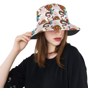 Red Dragon Hibiscus Pattern Unisex Bucket Hat