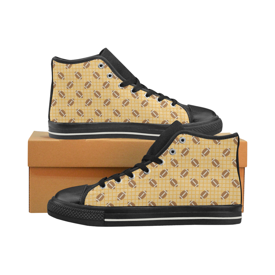 American Football Ball Pattern Yellow Background Women's High Top Shoes Black