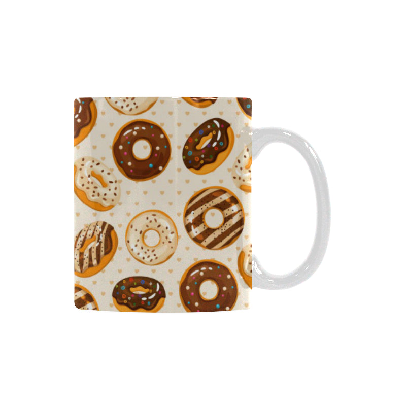 Chocolate Donut Pattern Classical White Mug (FulFilled In US)