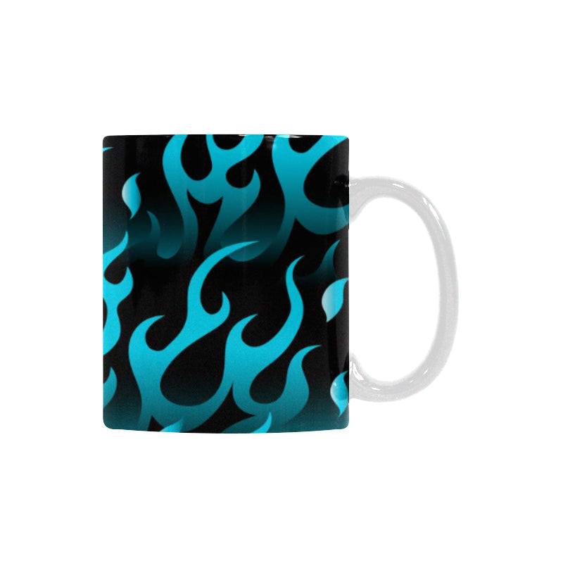 Blue Flame Fire Pattern Background Classical White Mug (FulFilled In US)