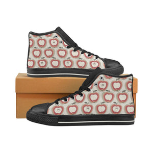 Red Apple Pattern Women's High Top Shoes Black